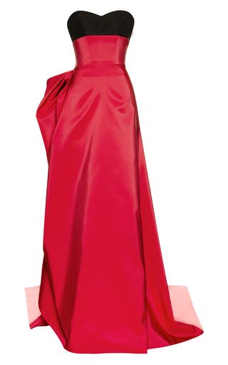 Medium carolina herrera pink silk faille gown with ribbon