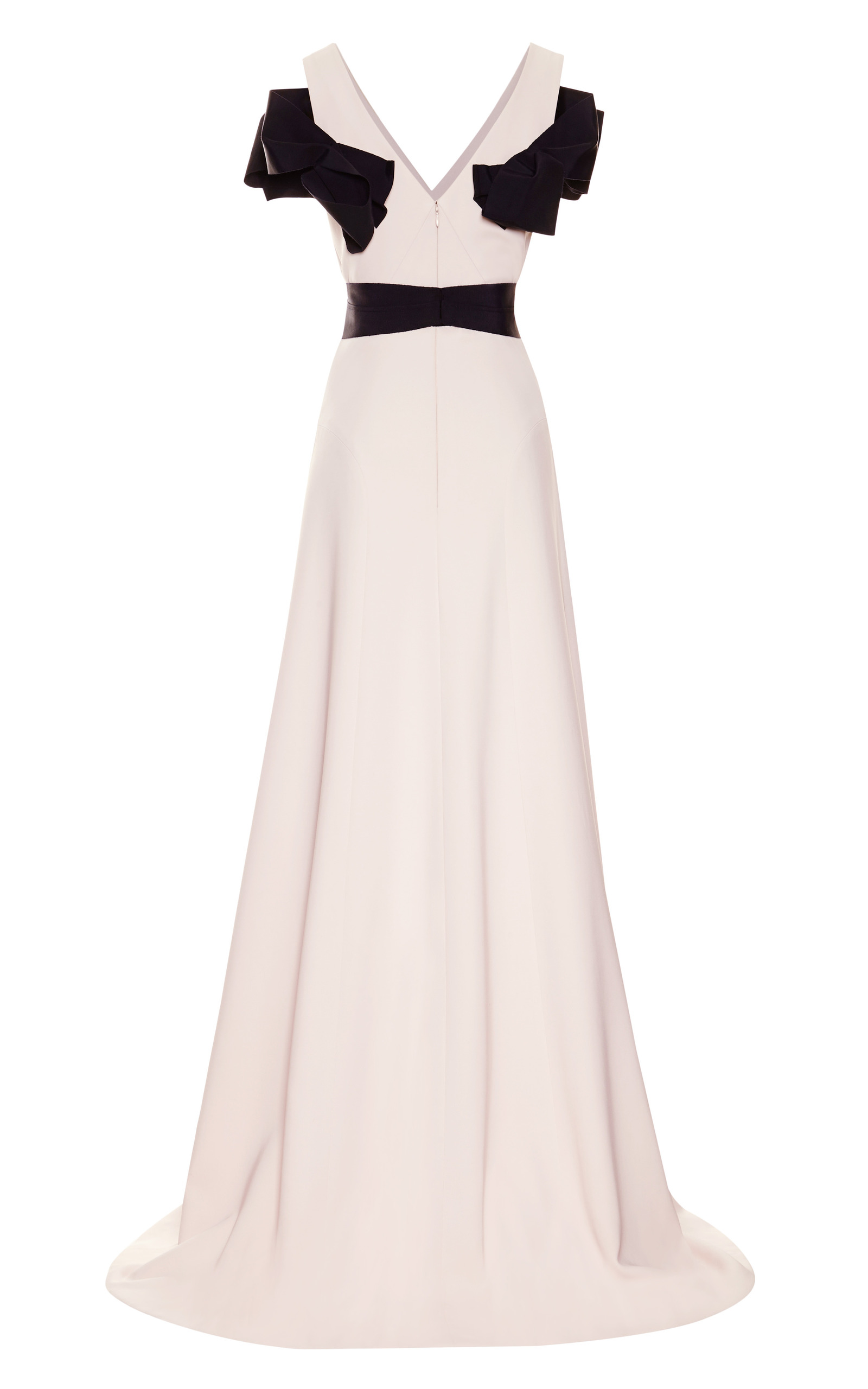 Moda Operandi   4-Ply Silk Crepe Gown With V-Neck by Carolina Herrera