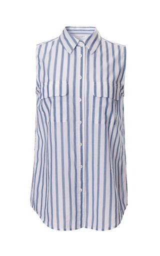 Medium equipment multi cinema stripe yarndye cotton lawn sleeveless slim signature shirt