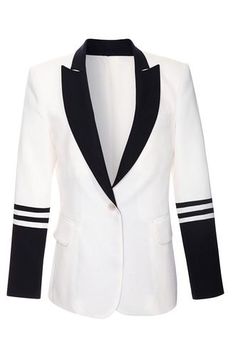 Medium equipment white solid linen anais nautical blazer