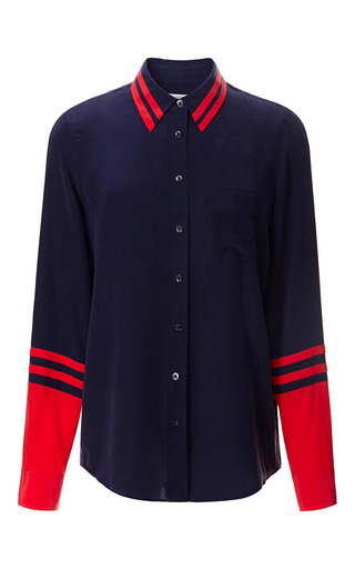 Medium equipment red solid nautical brett shirt with contrast detail 2
