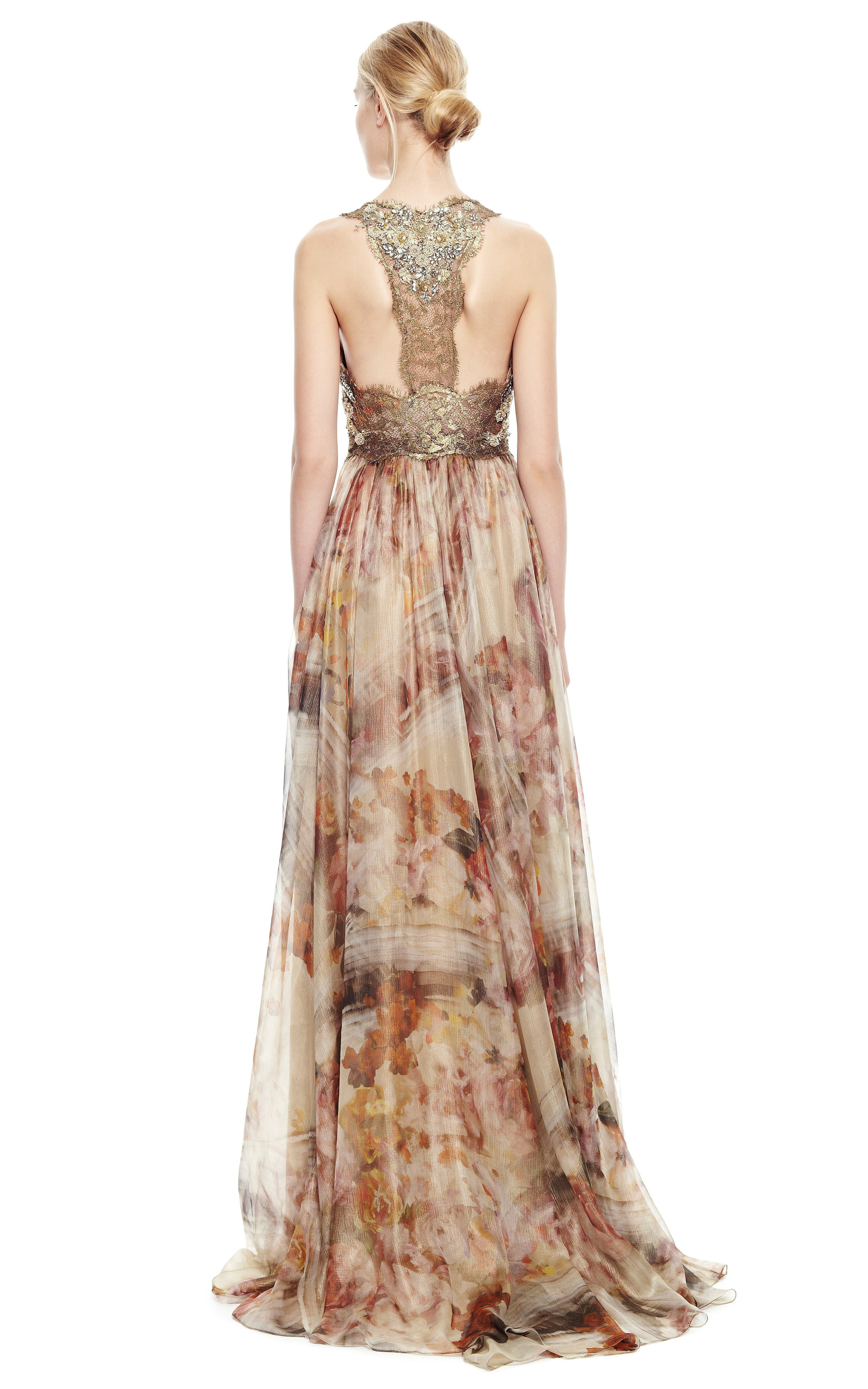 Gold Foil Printed Floral Chiffon Gown By Marchesa Moda