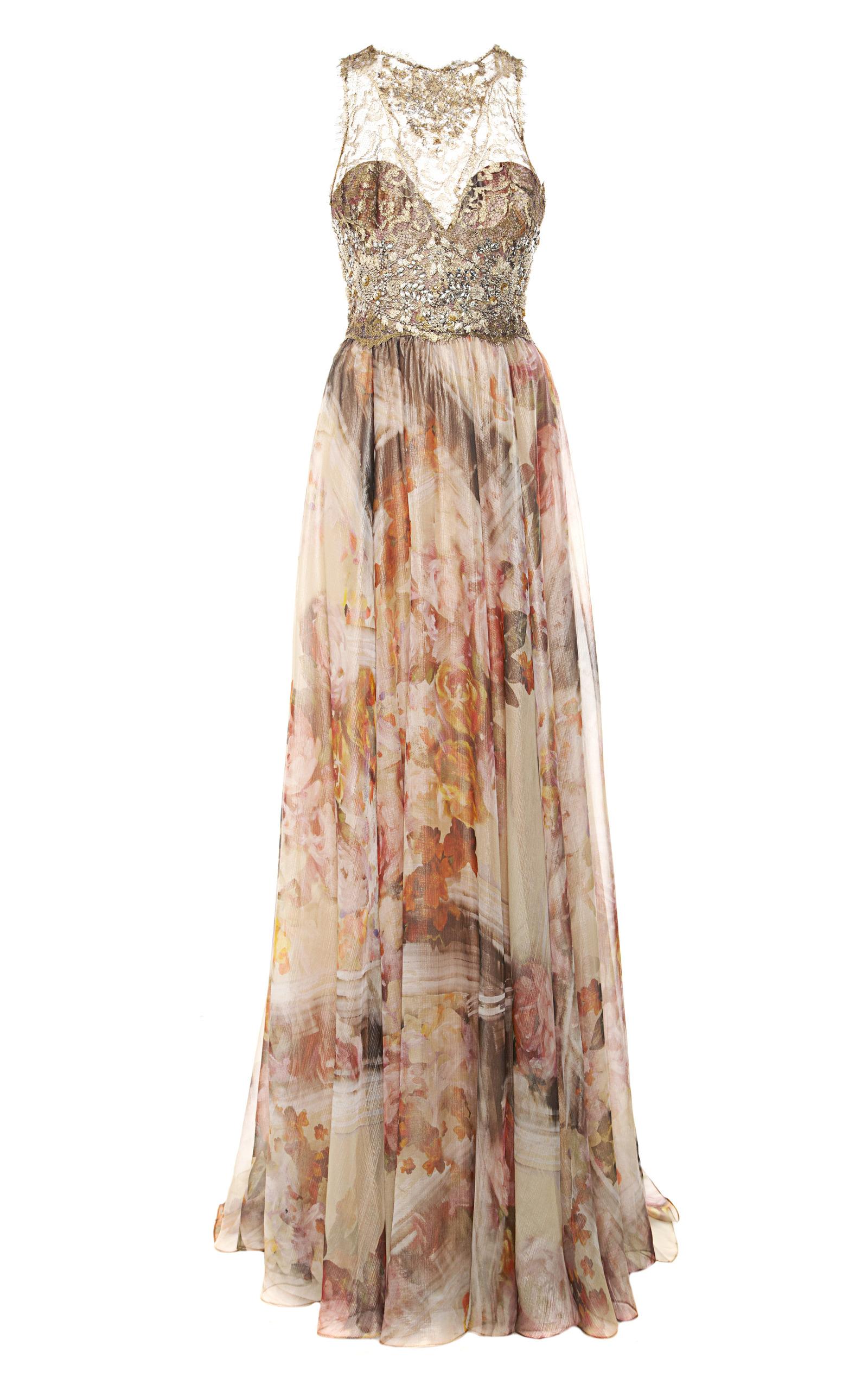 Moda Operandi   Gold Foil Printed Floral Chiffon Gown by Marchesa