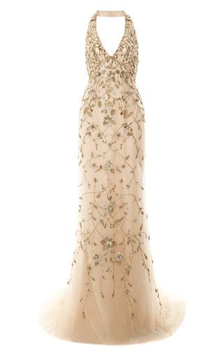 Medium marchesa gold embroidered floral halter neck gown