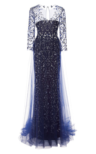 Medium marchesa black embroidered gown with tulle skirt overlay