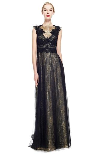 3ec4cd97 Engineered Metallic Lace Column Gown With Tulle Overlay by Marchesa | Moda  Operandi