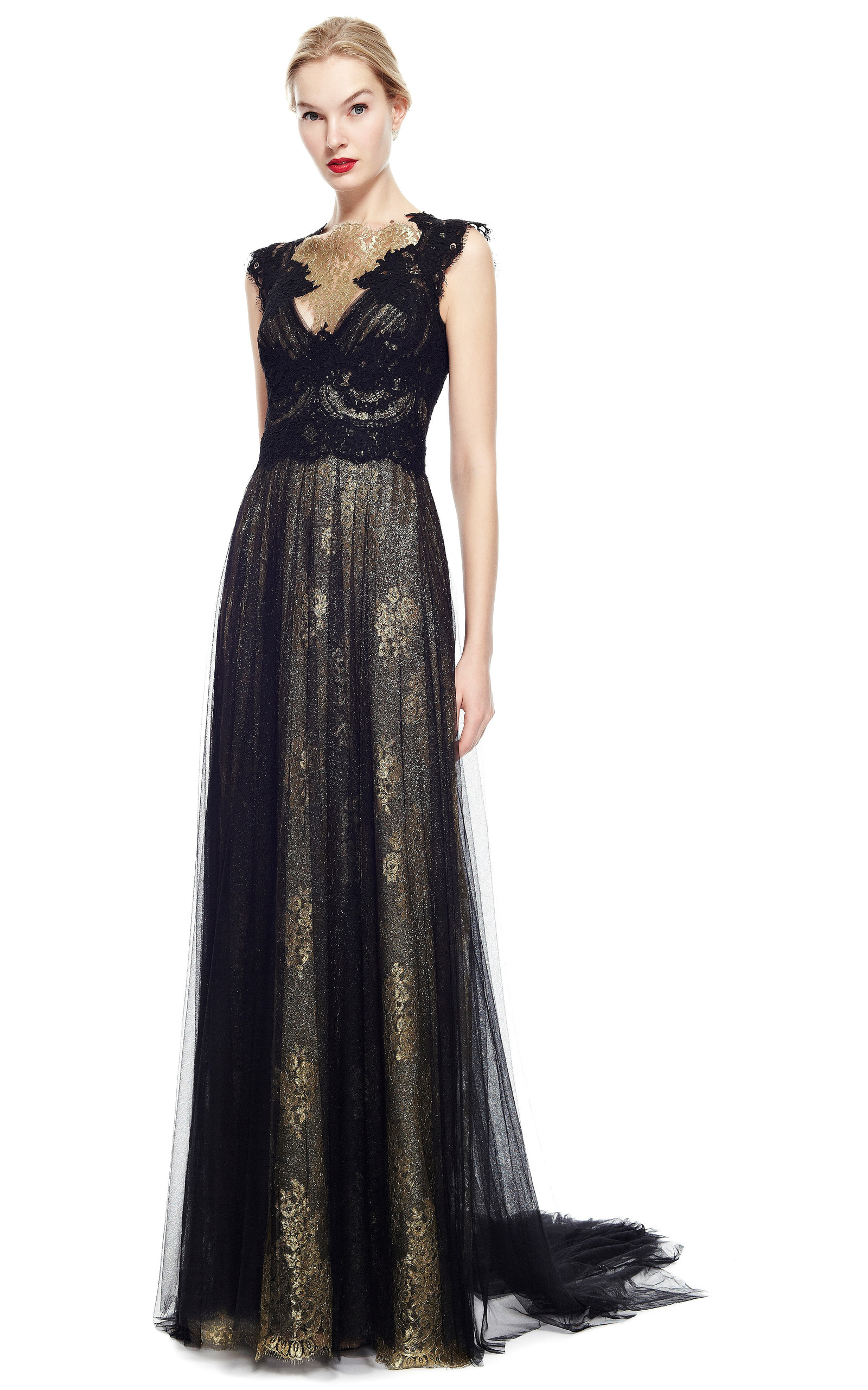 3bdcb89d MarchesaEngineered Metallic Lace Column Gown With Tulle Overlay. CLOSE.  Loading. Loading