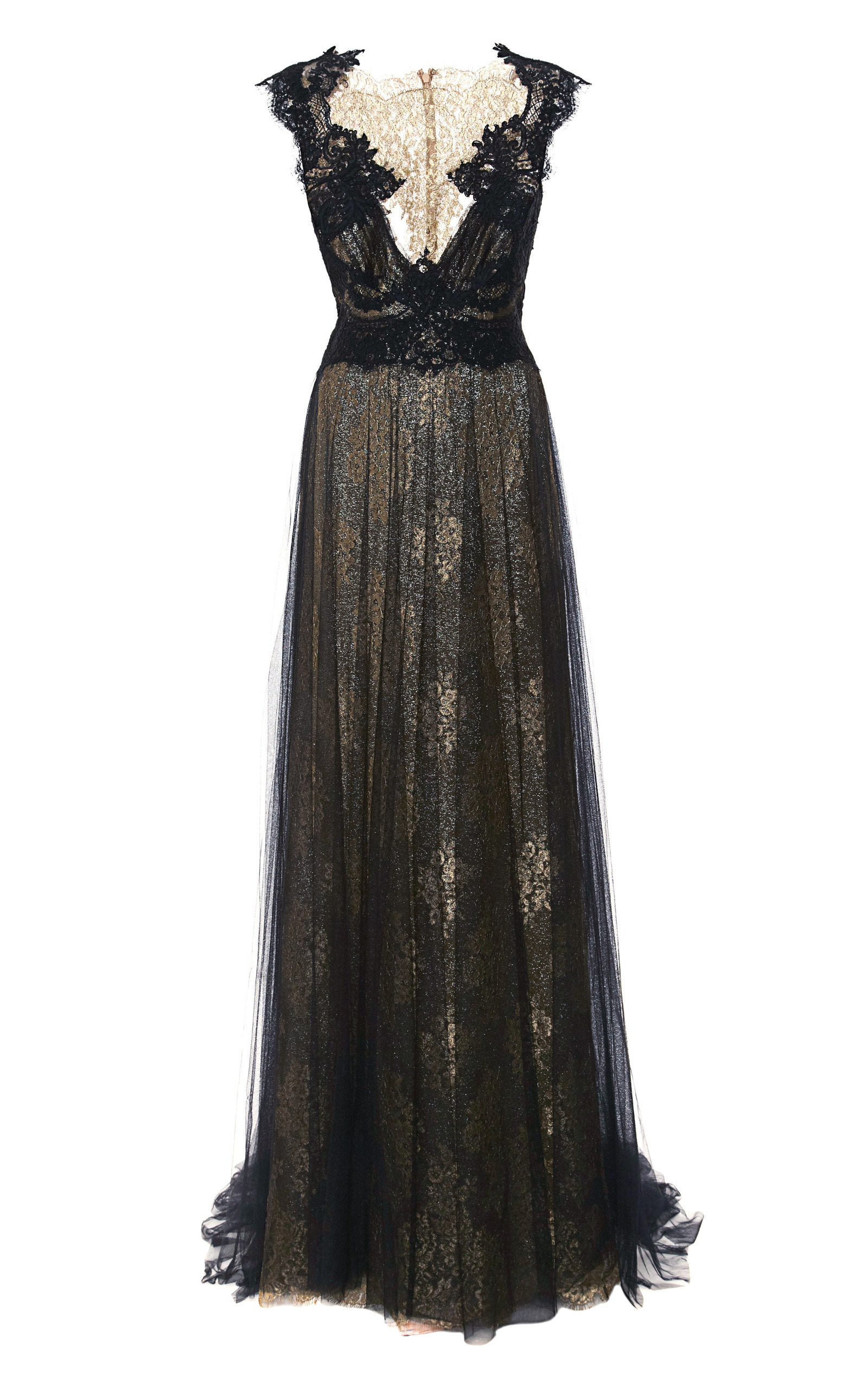 5f11f29f MarchesaEngineered Metallic Lace Column Gown With Tulle Overlay. CLOSE.  Loading