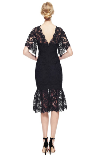 Corded Lace Cocktail Dress by MARCHESA for Preorder on Moda Operandi