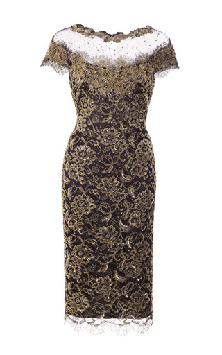 Medium marchesa gold re embroidered metallic lace cocktail dress