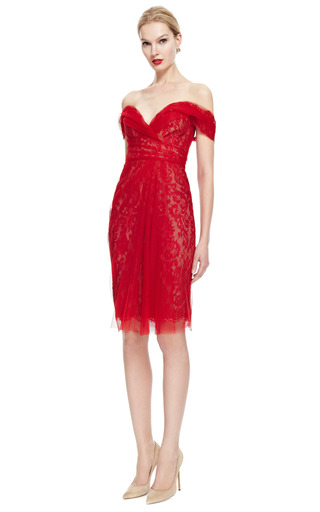 Off The Shoulder Lace Cocktail Dress by MARCHESA for Preorder on Moda Operandi