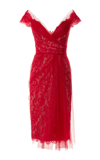 Medium marchesa red off the shoulder lace cocktail dress