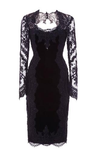 Medium marchesa black re embroidered stretch velvet long sleeve cocktail dress