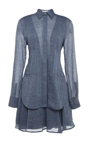 Medium derek lam 10 crosby dark grey long sleeve two pocket shirtdress