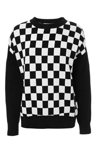 Medium derek lam 10 crosby black long sleeve checkboards crew neck sweater