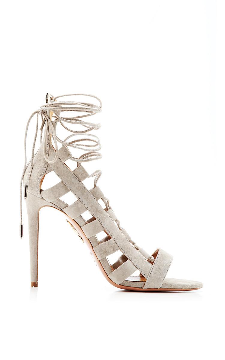 f041e3d9d244 AquazzuraAmazon Lace-Up Suede Sandals. CLOSE. Loading