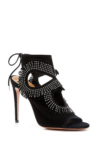 M'o Exclusive: Sexy Fringe Studded Suede Sandals by AQUAZZURA Now Available on Moda Operandi