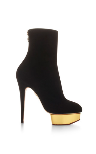 Lucinda Suede Platform Ankle Boots by CHARLOTTE OLYMPIA Now Available on Moda Operandi
