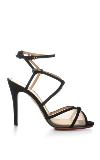 Medium charlotte olympia black isadora suede and mesh sandals