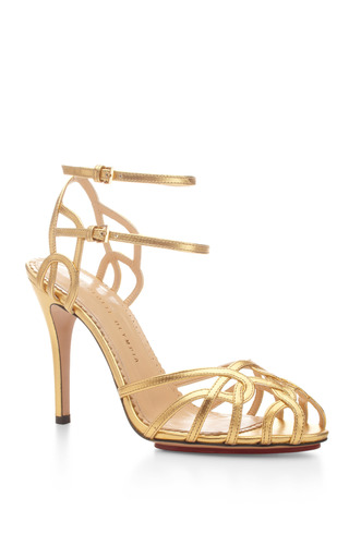 Medium charlotte olympia gold ursula metallic leather sandals 2