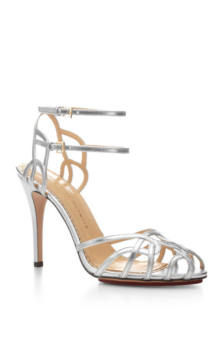Medium charlotte olympia silver ursula metallic leather sandals