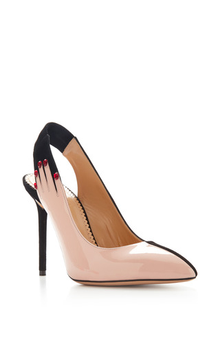 Hands Up Suede And Patent Leather Pumps by CHARLOTTE OLYMPIA Now Available on Moda Operandi