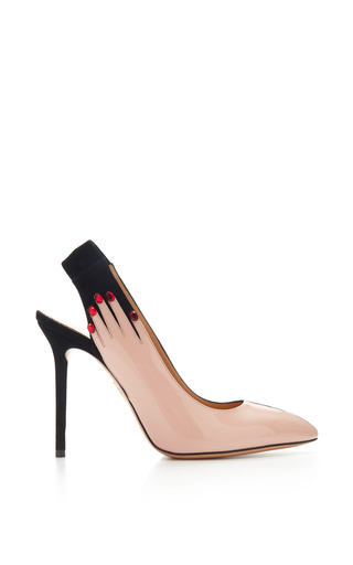 Medium charlotte olympia black hands up suede and patent leather pumps