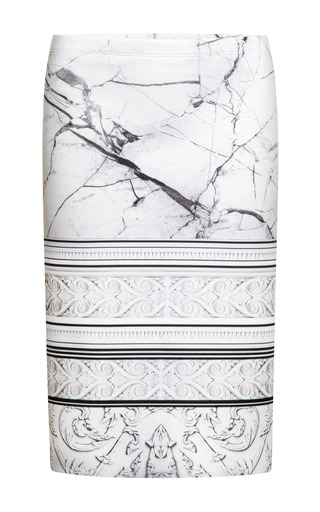 Medium clover canyon white printed neoprene skirt