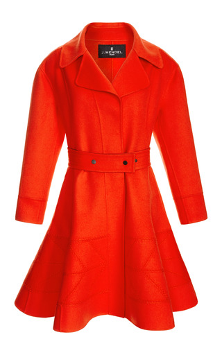 Medium j mendel red dress coat with full skirt