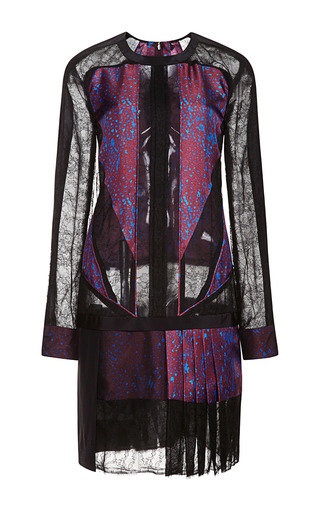 Medium j mendel multi long sleeve dress with lace and crepe inserts