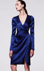 Long Sleeve V Neck Dress With Asymmetrical Draping by J. MENDEL Now Available on Moda Operandi