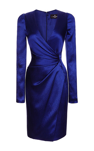 Medium j mendel blue long sleeve v neck dress with asymmetrical draping