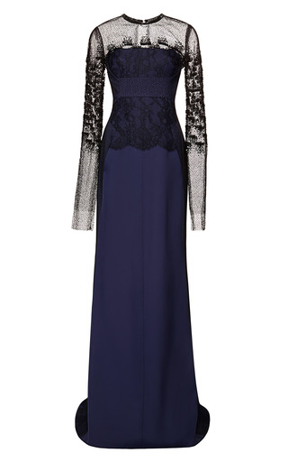 Medium j mendel blue long sleeve gown with embroidered overlay