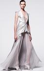 Sleeveless V Neck Gown With Pleated Skirt by J. MENDEL for Preorder on Moda Operandi