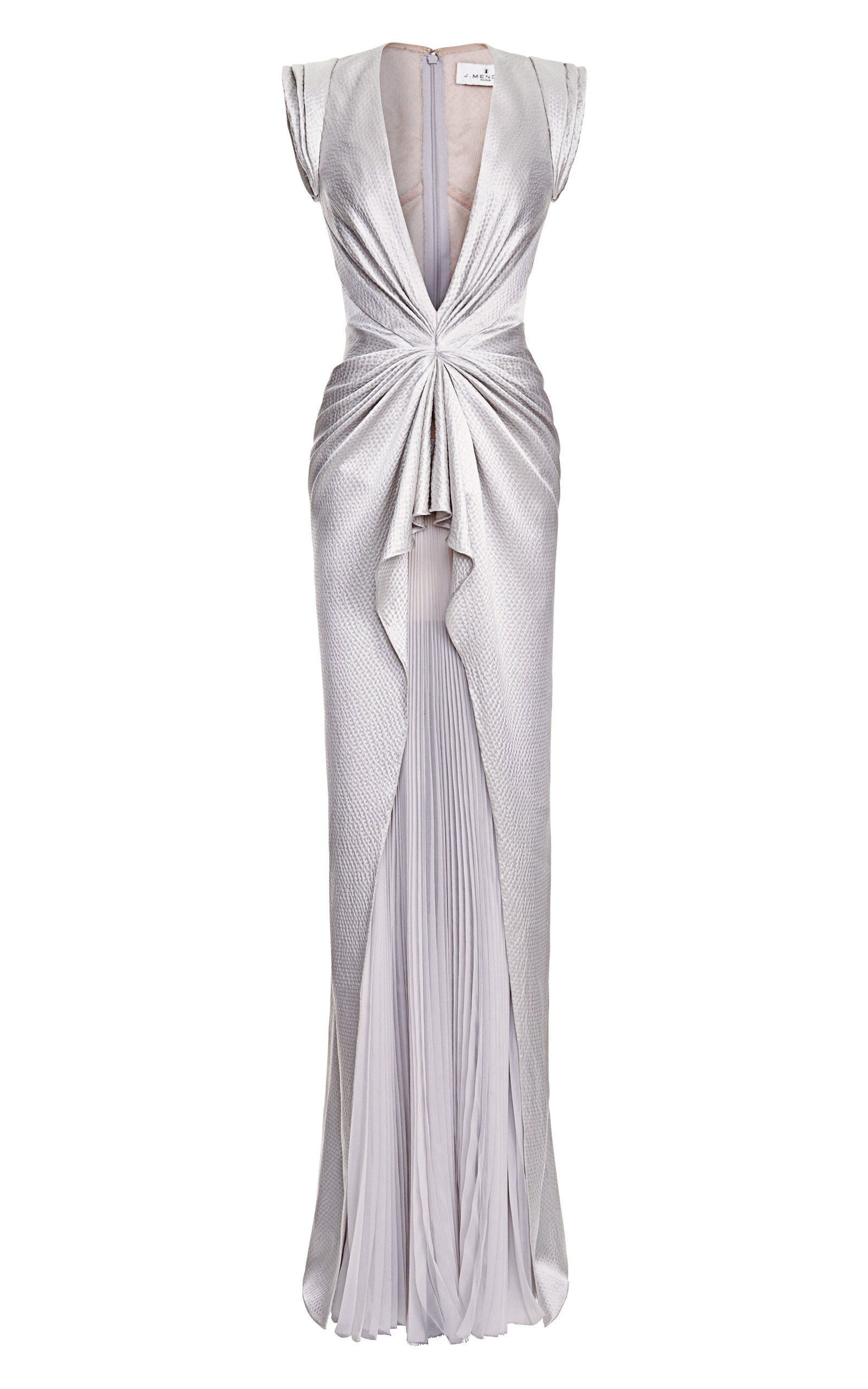 Sleeveless V-Neck Gown With Pleated Skirt by J. Mendel | Moda Operandi