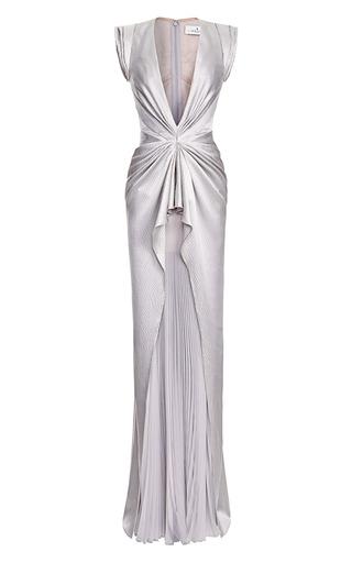Medium j mendel dark grey sleeveless v neck gown with pleated skirt