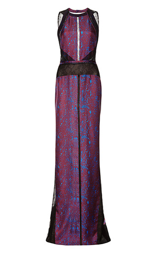 Medium j mendel multi sleeveless gown with lace inserts