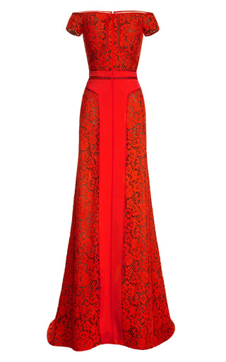 Medium j mendel red short sleeve off the shoulder gown with crepe inserts
