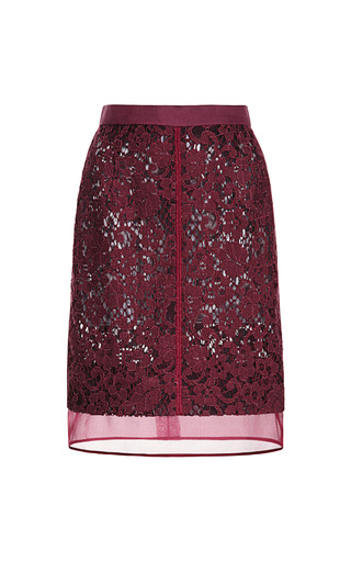 Medium j mendel burgundy pencil skirt with organza hem