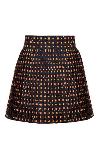 Medium suno black square tie black pleated mini wrap skirt