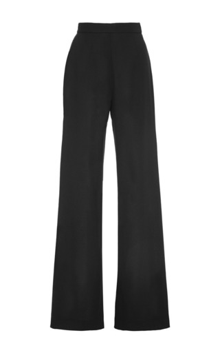 Medium mother of pearl black payton light wool crepe wide trousers