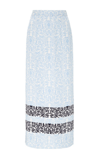 Medium mother of pearl blue kapka heavy crepe de chine long skirt