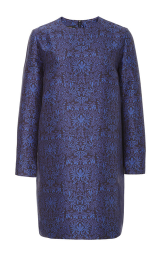 Medium mother of pearl blue anna cotton silk mix long sleeved dress
