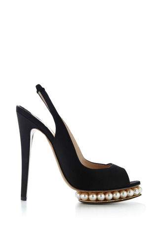Medium nicholas kirkwood black swarovski pearl embellished satin platform pumps