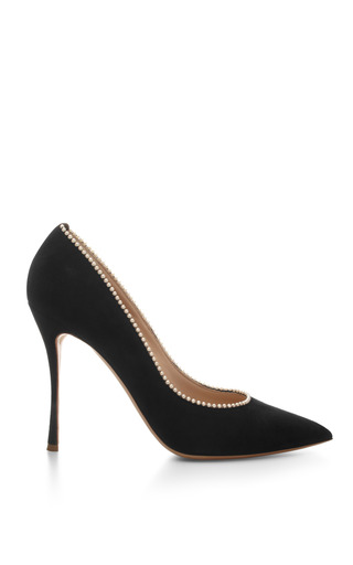 Medium nicholas kirkwood black pearl embellished suede pumps