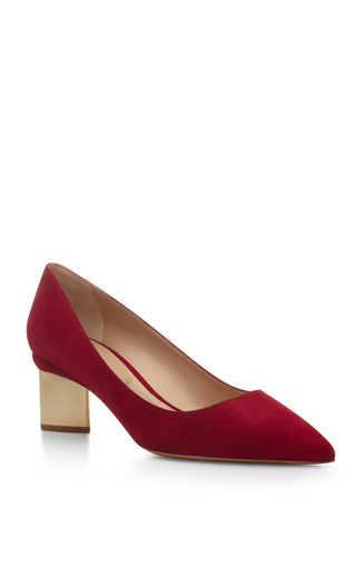 Medium nicholas kirkwood red metallic heel suede pumps