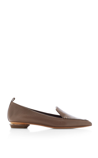 Medium nicholas kirkwood brown soft textured leather loafers