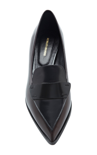 Two Tone Polished Leather Penny Loafers by NICHOLAS KIRKWOOD Now Available on Moda Operandi