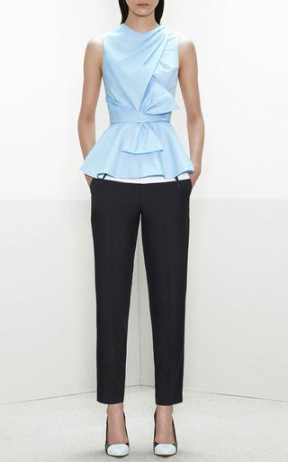 Draped Bow Cotton Peplum Top by PRABAL GURUNG Now Available on Moda Operandi