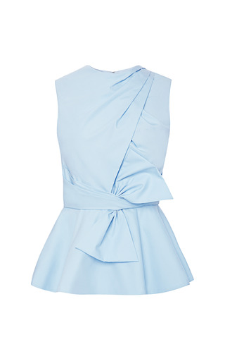 Draped Bow Cotton Peplum Top by PRABAL GURUNG Now Available on Moda Operandi